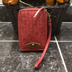 🛍👛Elliot Lucca Cherry Red Woven Leather Wristlet